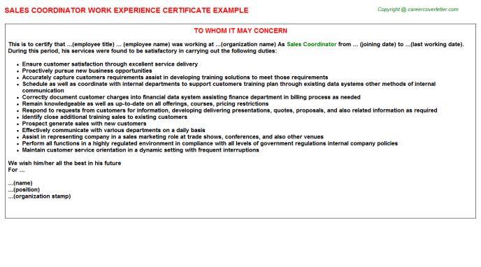 Sales Coordinator Work Experience Certificate