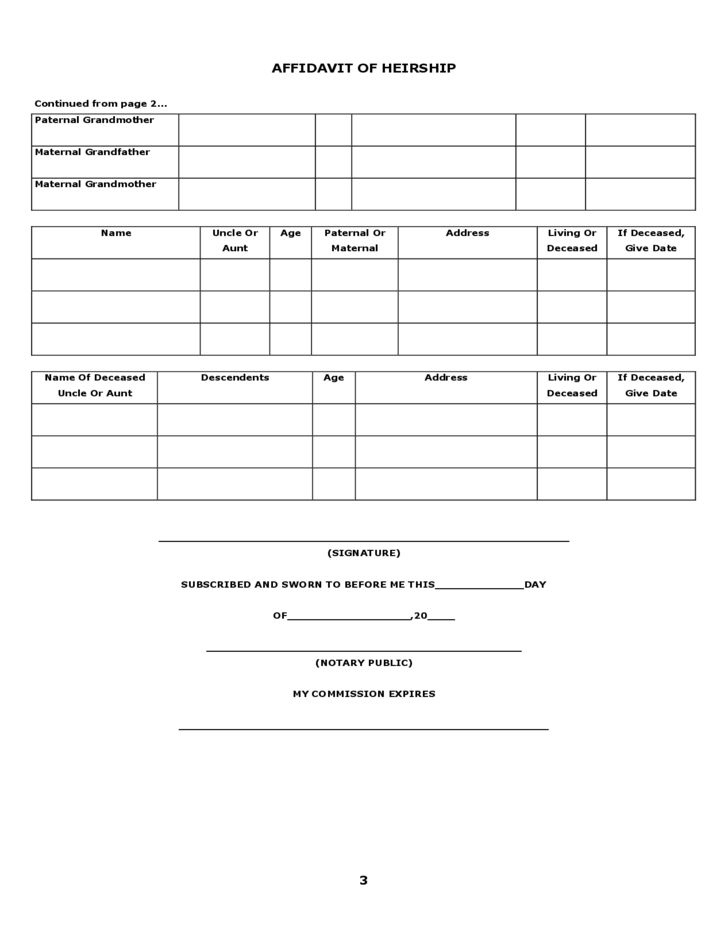 Blank Affidavit of Heirship Form Free Download