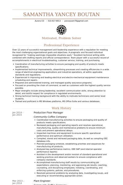 Floor Manager Resume samples - VisualCV resume samples database