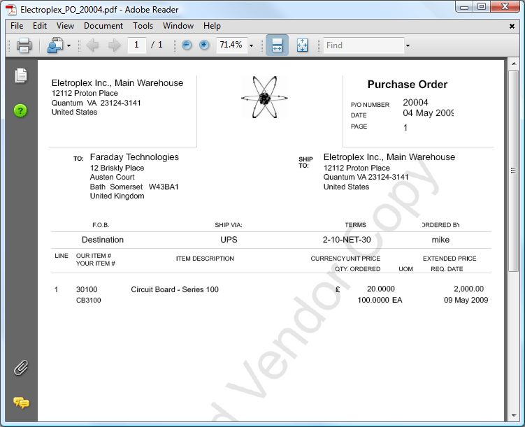 2. Emailing Purchase Orders