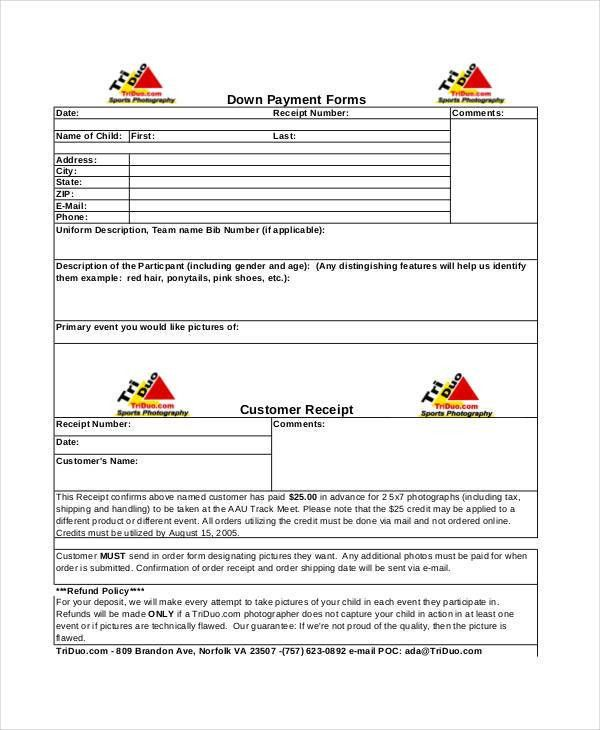Down Payment Receipt Form [Template.billybullock.us ]