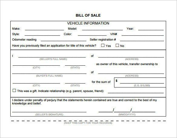 Vehicle Bill Of Sale Template Word | Template Design