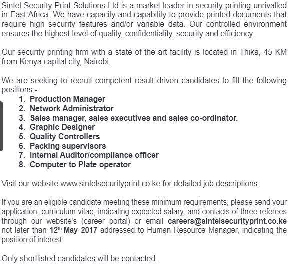 2017 Sintel Security Print Solutions Job Vacancies - JobSpot Kenya