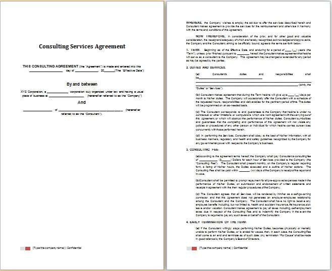 Word Consulting Services Agreement Template | Free Agreement Templates