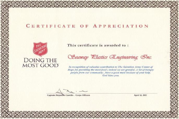 Salvation Army Appreciation | Seaway Plastics Engineering