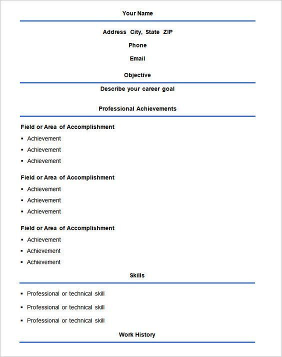 Image result for simple resume format download | Get it in Writing ...