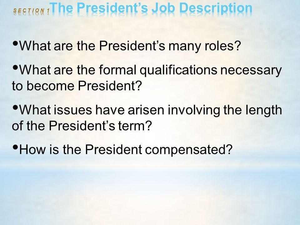 President Job Description. Presidential Job Description 3 Ghn ...