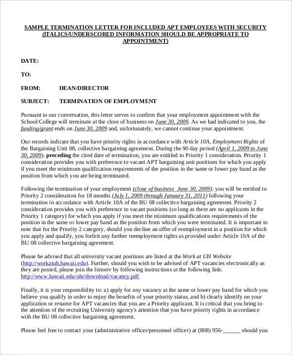 Termination Letter - 9+ Free Word, PDF Documents Download | Free ...