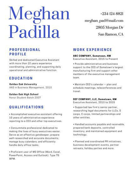 Corporate Resume Examples. Reverse Chronological Resume Format ...