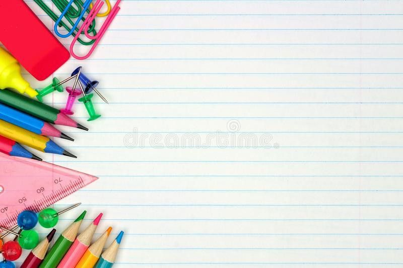 School Supplies Side Border On Lined Paper Background Stock Photo ...