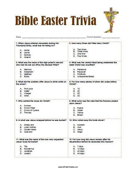 Bible Easter Trivia - Free Printable - AllFreePrintable.com
