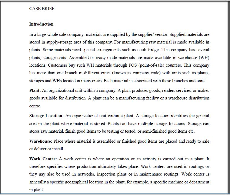 CASE BRIEF Introduction In A Large Whole Sale Comp... | Chegg.com