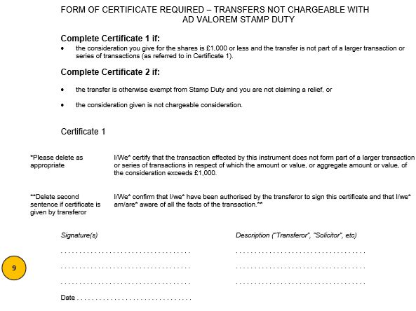 Uk share certificate template free share certificate template stock transfer form j30 template and guide inform direct yadclub Images