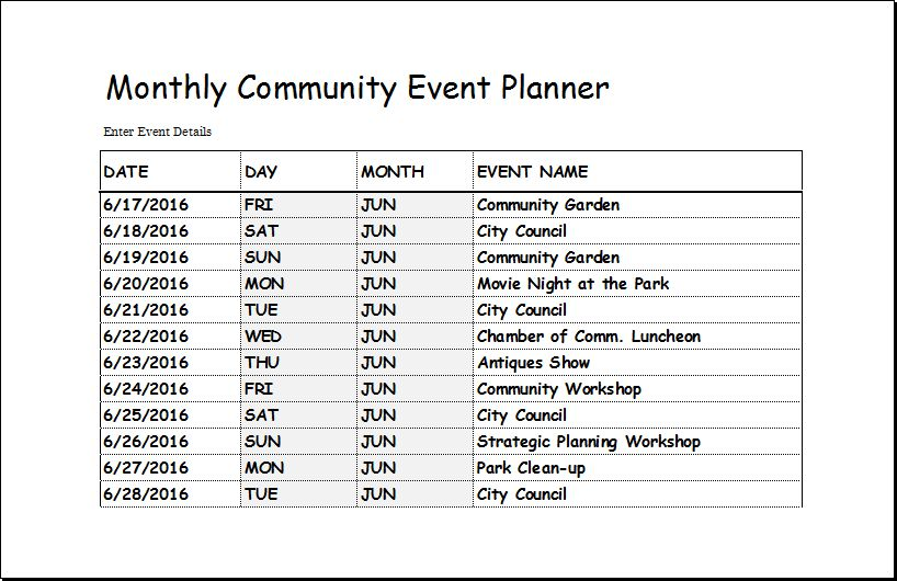 Community Event Planner Template for EXCEL | Excel Templates
