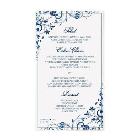 Wedding Menu Template | Chic Bouquet (Navy) 4 x 7