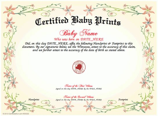 Baby Prints - Download and print a unique Certified Baby Prints ...