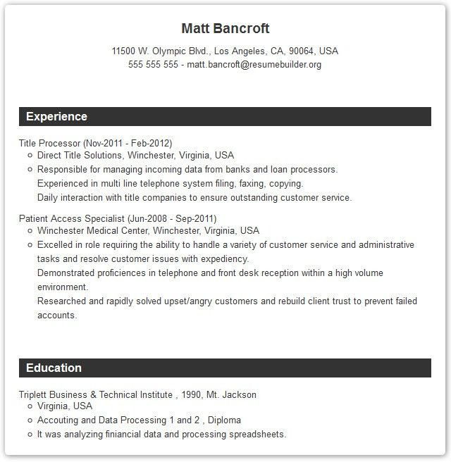 Professional Resume Templates - Resume Builder with examples and ...