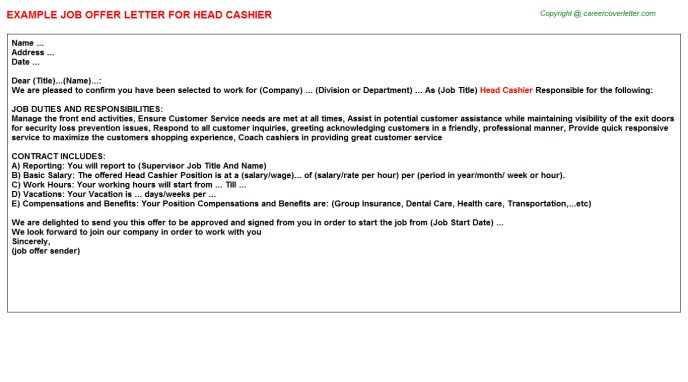 Head Cashier Offer Letters