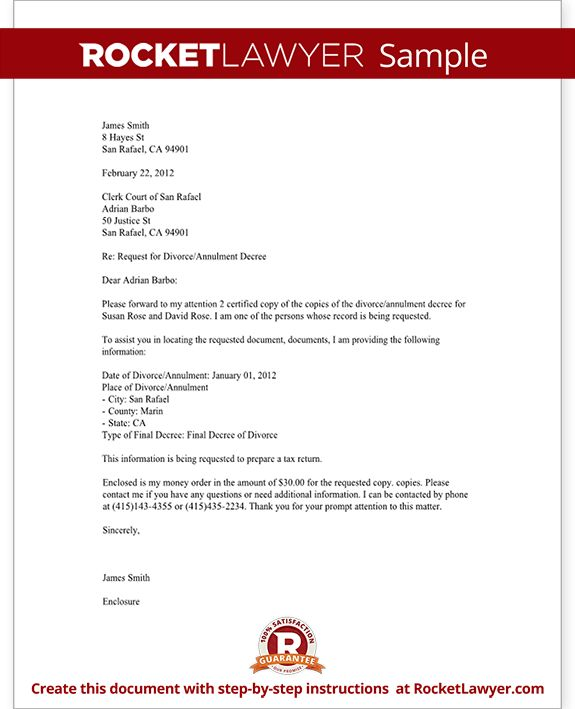 Divorce Records Request Letter (Template With Sample)