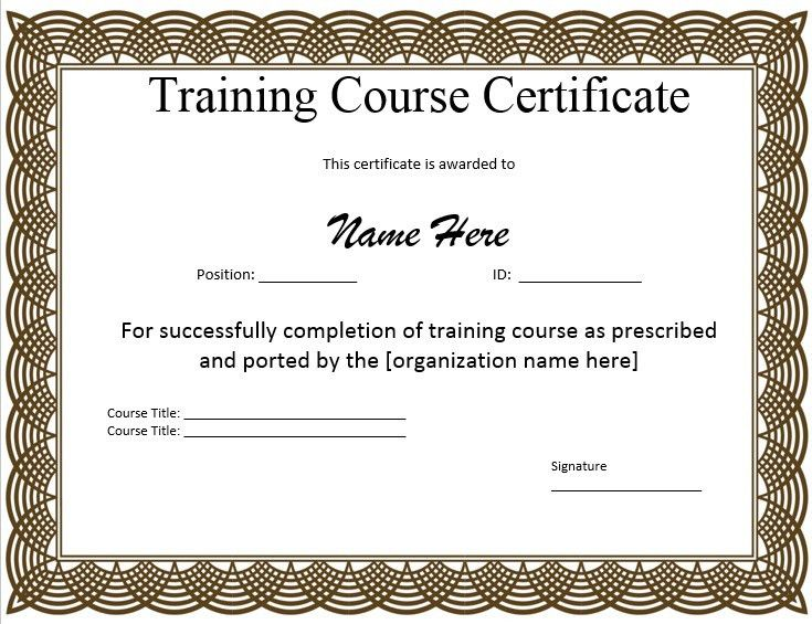 Sample Training Certificate Free Training Certificate Template