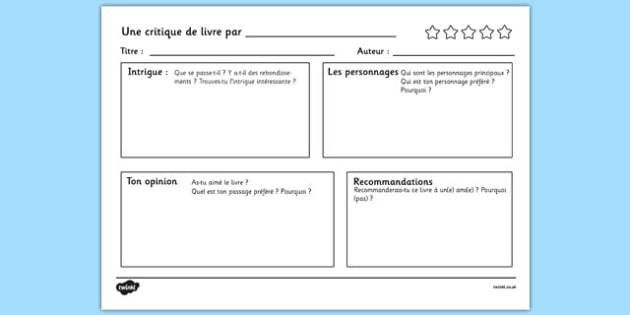 Une critique de livre par - french, book review writing