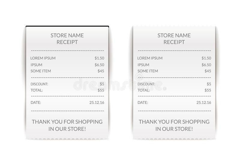 Vector Paper Atm Check Illustration. Financial Receipt Bill. Cafe ...