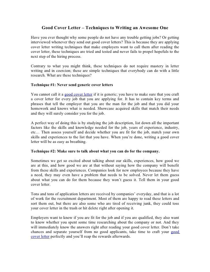 Good Cover Letter Techniques To Writing An Awesome One