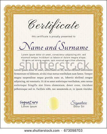 Elegant Certificate Template Design Emblem Vintage Stock Vector ...
