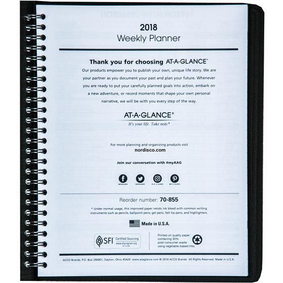 At-A-Glance 70-855 70-855-05, 2018 Weekly Planner | Nordisco.com