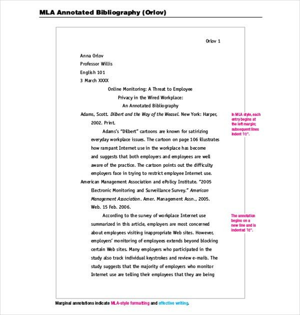 Bibliography example mla 10 mla annotated bibliography templates mla annotated bibliography template 10 free word pdf documents pronofoot35fo Images