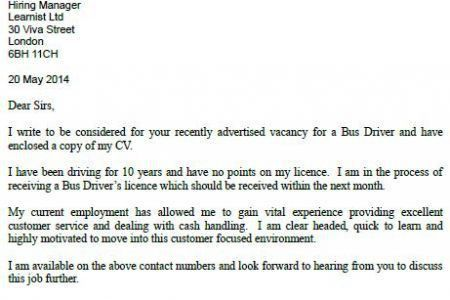 Driver cover letters