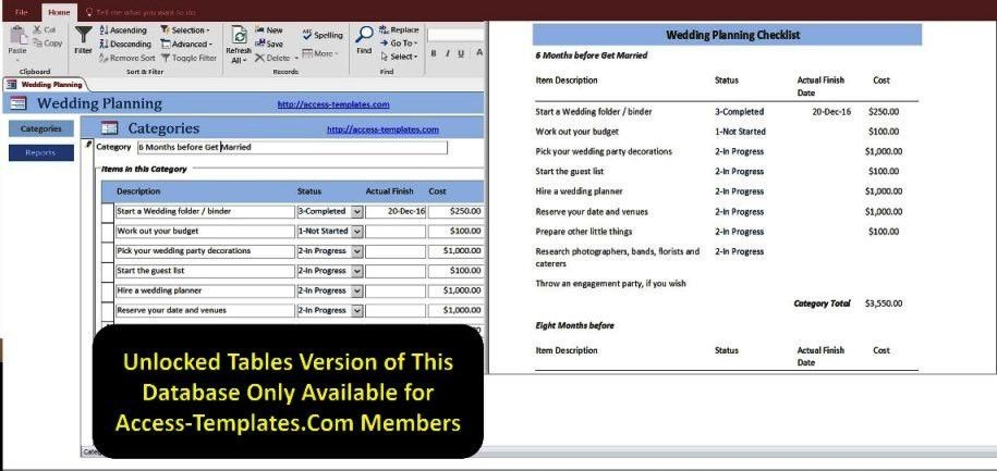 Access Database Wedding Planning Checklist With Timeline Templates ...