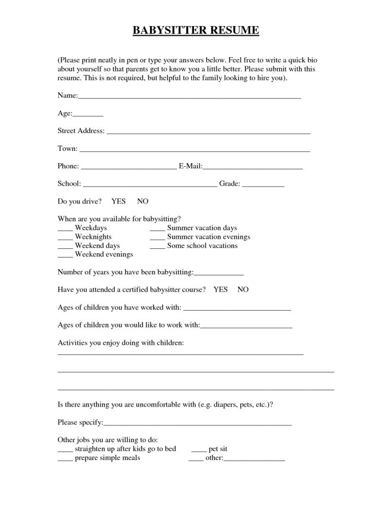 Surprising Ideas Babysitter Resume Sample 12 Babysitter Resume ...