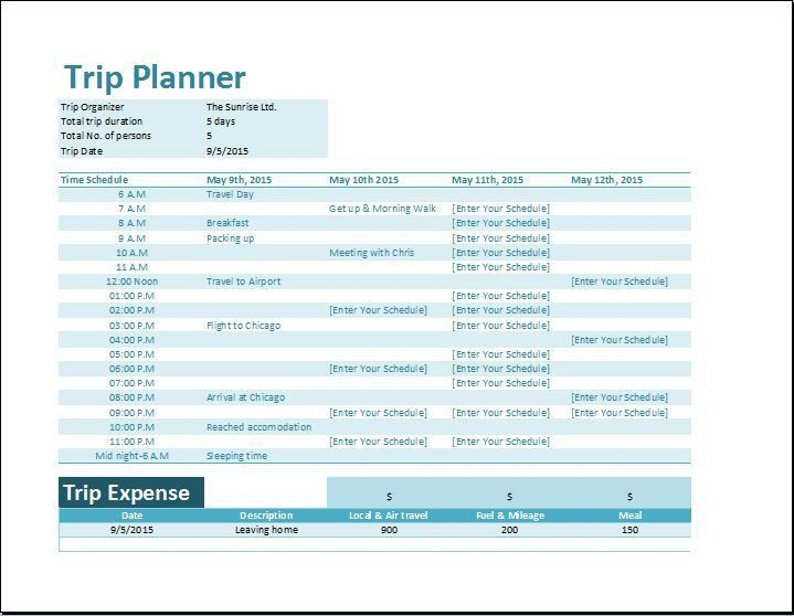 Formal Vacation Trip Planner Template | Word & Excel Templates