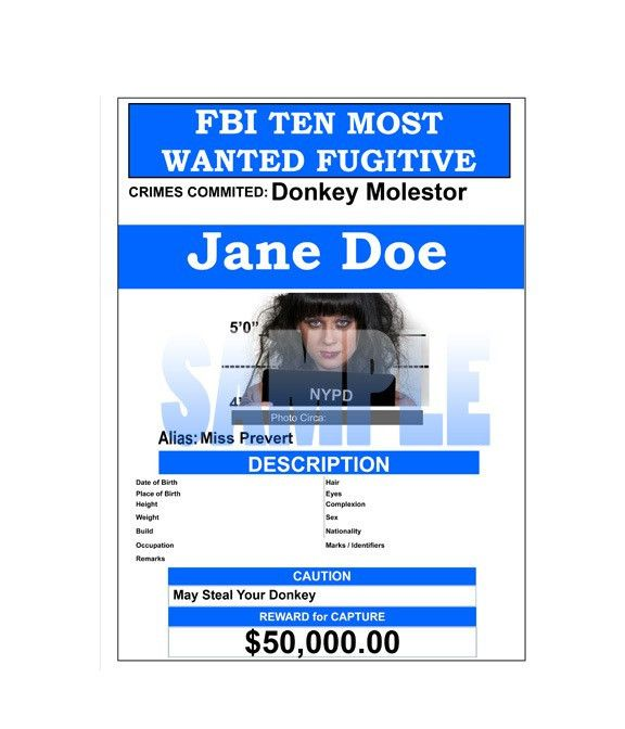 Fake Wanted Poster FBI Style