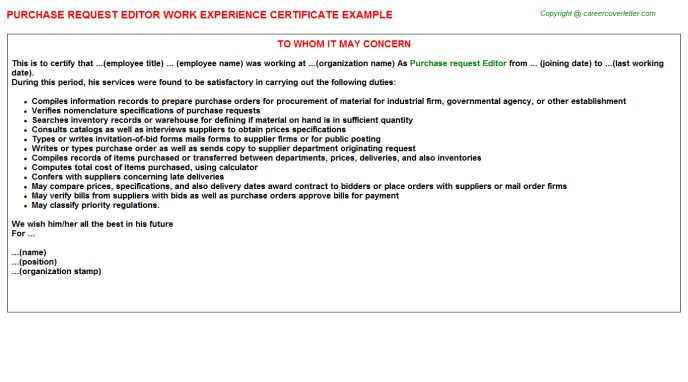 Purchase Request Editor Work Experience Certificate