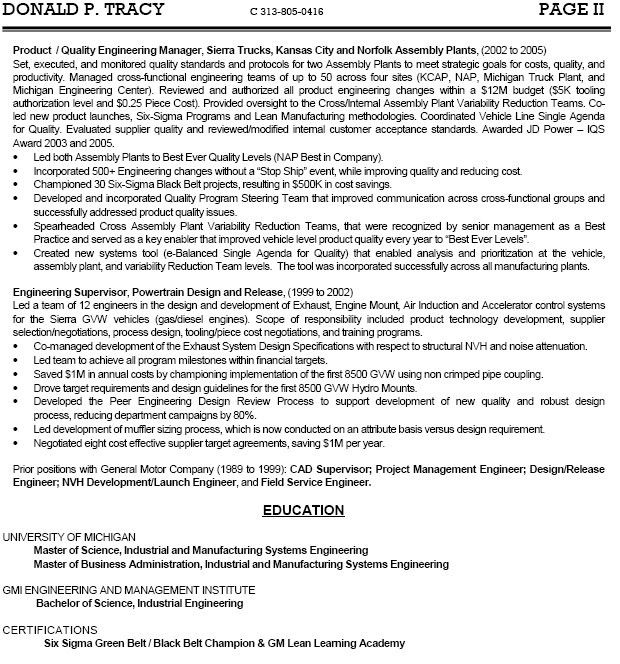 Free Resume Example for Engineering Manager Position for Job ...