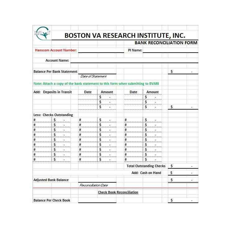 Bank Statement Reconciliation Template - Corpedo.com