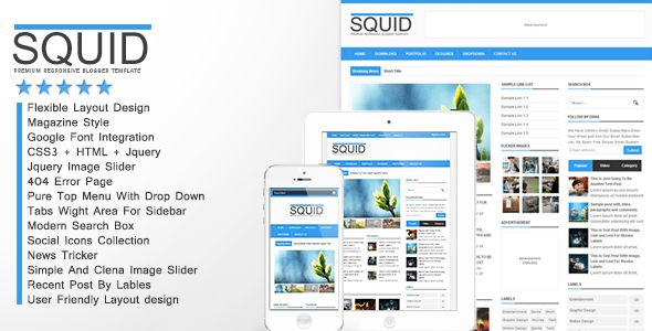 Squid - Clean Responsive Blogger Template by cbtblogger | ThemeForest