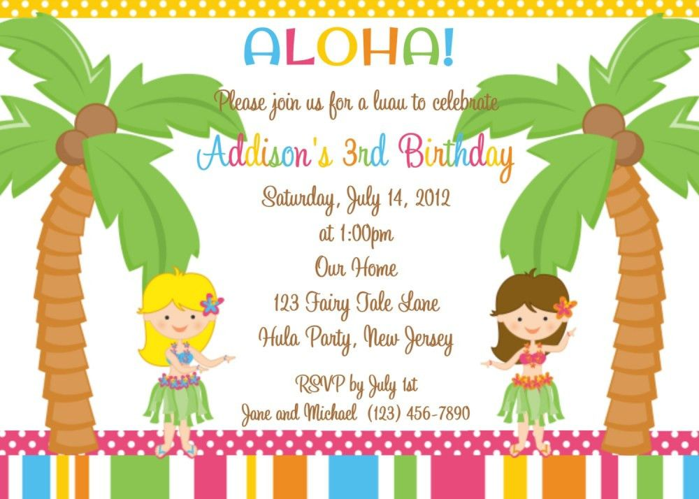 Luau Party Invitations Wording - Party XYZ