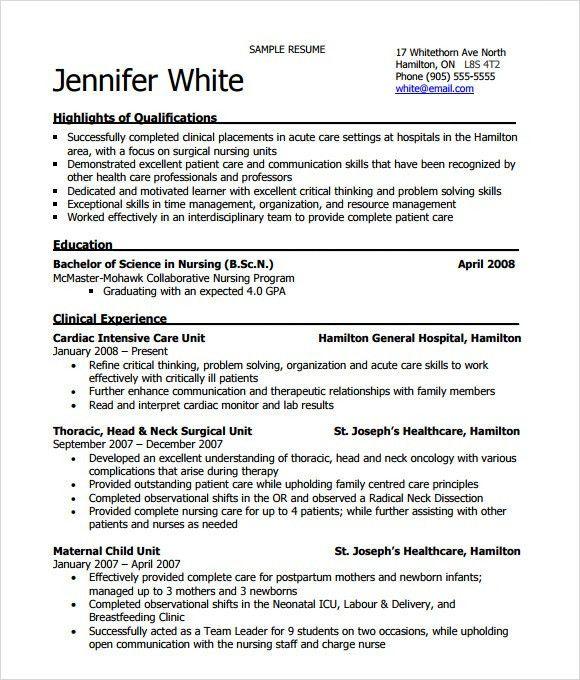 Nursing Resume - 8+ Free Samples , Resumes , Format