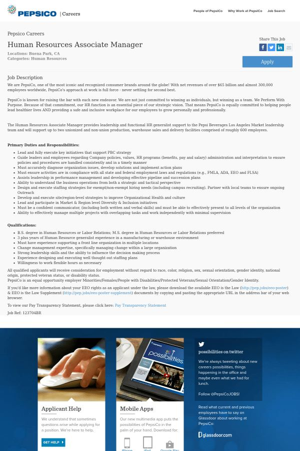 Human Resources Associate Manager job at PepsiCo in Buena Park, CA ...
