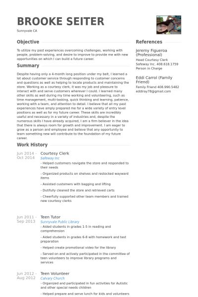 Courtesy Clerk Resume samples - VisualCV resume samples database