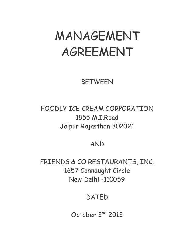 management agreement contract template