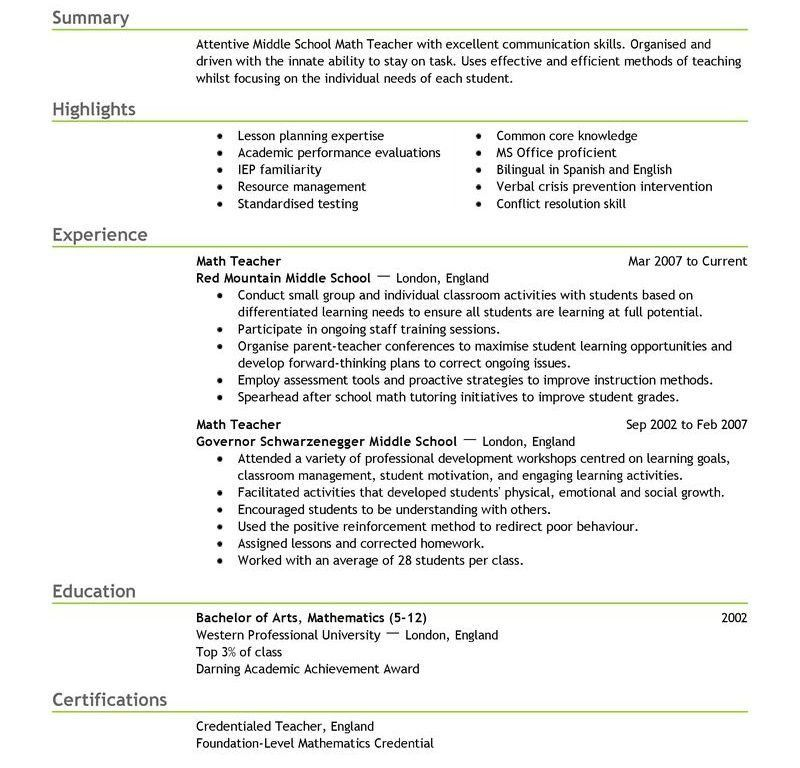 resume sample for teacher summer teacher resume sample example ...