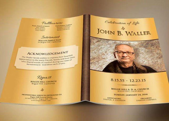 Solid Gold Funeral Program Template | Inspiks Market