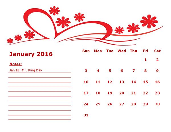 2016 Monthly Calendar Template 16 - Free Printable Templates
