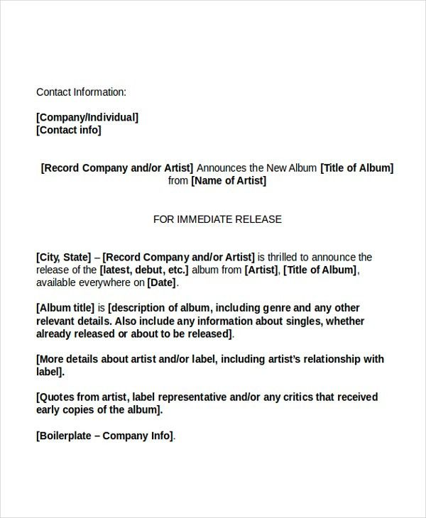 9+ Press Release Templates - Free Sample, Example, Format | Free ...