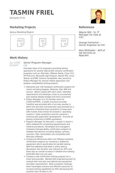 Senior Program Manager Resume samples - VisualCV resume samples ...