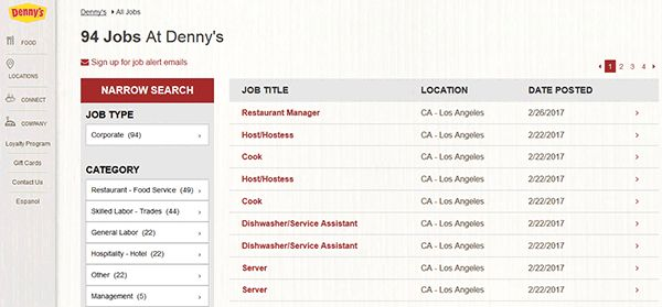 Denny's Job Application - Adobe PDF - Apply Online